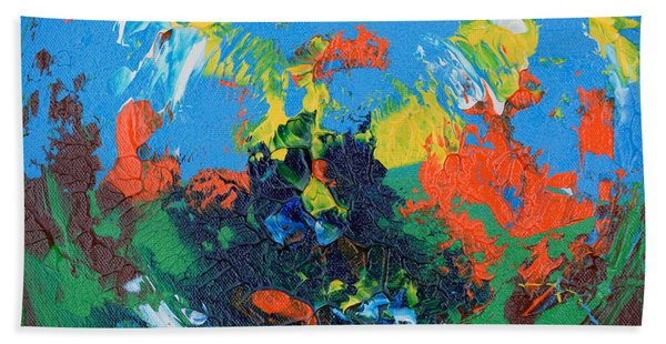 Bath Towel featuring the painting Abstract Painting R1115a by Mas Art Studio