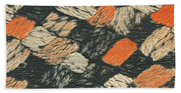 Abstract Pattern Black And Orange Hand Towel