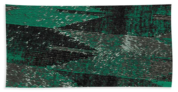 Abstract Pattern No.11 Green And Black Hand Towel