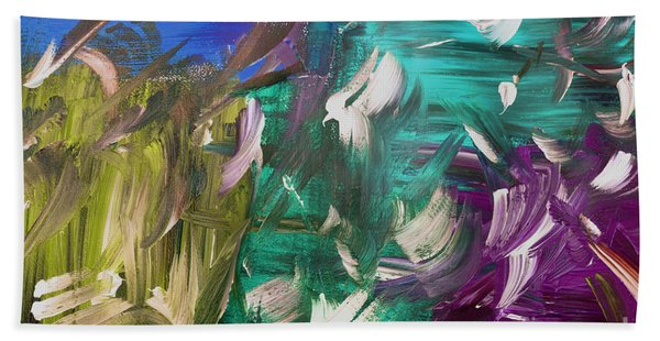 Bath Towel featuring the painting Abstract Series E1015bl by Mas Art Studio