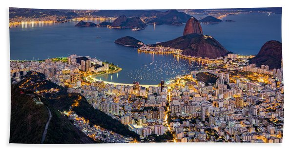 Hand Towel featuring the photograph Aerial Rio by Mihai Andritoiu
