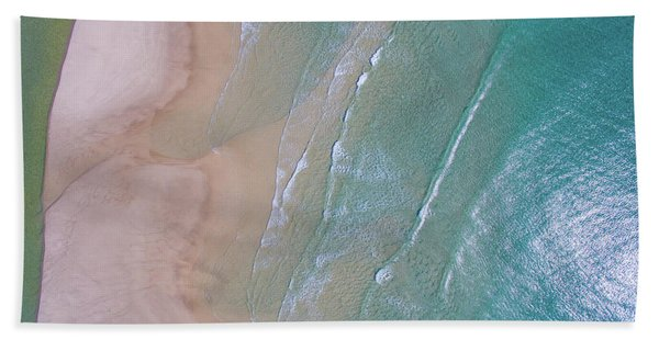 Aerial View Of Beach And Wave Patterns Bath Towel