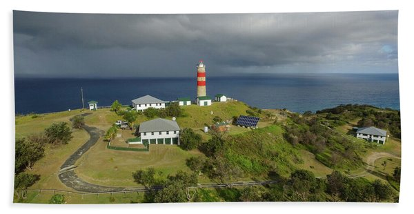 Aerial View Of Cape Moreton Lighthouse Precinct Bath Towel