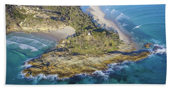 Aerial View Of North Point, Moreton Island Bath Towel