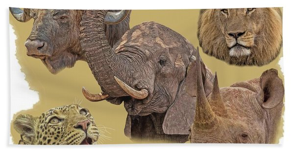Bath Towel featuring the photograph African Big Five by Larry Linton