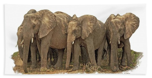 Bath Towel featuring the digital art African Elephants 2 by Larry Linton