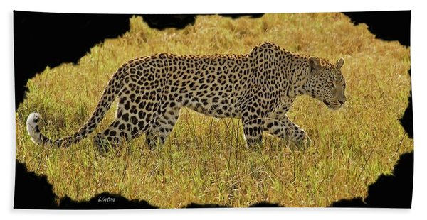 Bath Towel featuring the digital art African Leopard 7 by Larry Linton