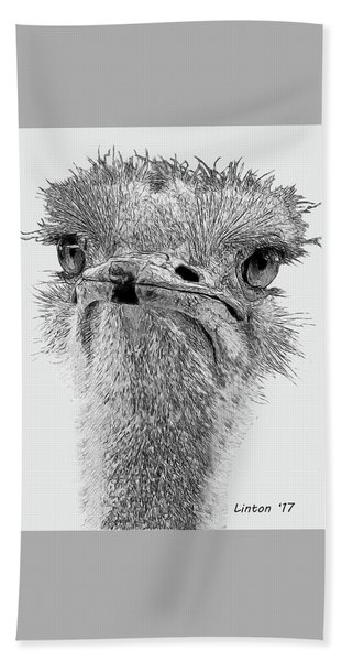 Bath Towel featuring the digital art African Ostrich Sketch by Larry Linton