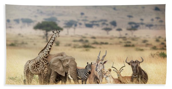African Safari Animals In Dreamy Kenya Scene Hand Towel