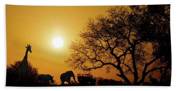 African Sunset Silhouette With Copy Space Hand Towel