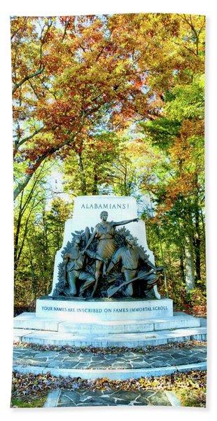 Alabama Monument At Gettysburg Bath Towel