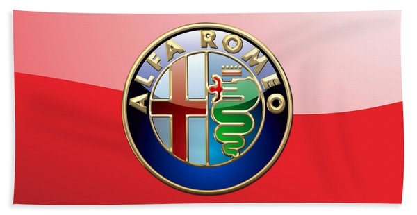 Alfa Romeo - 3d Badge On Red Bath Towel