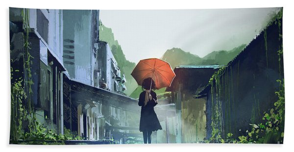 Bath Towel featuring the painting Alone In The Abandoned Town by Tithi Luadthong