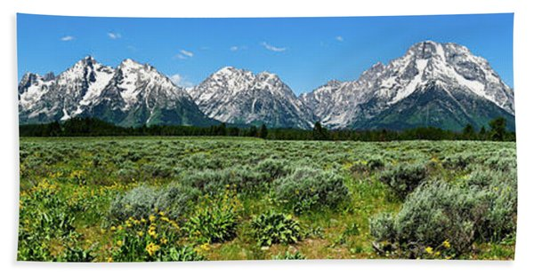 Bath Towel featuring the photograph Alpine Meadow Teton Panorama II by Greg Norrell