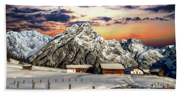 Alpine Winter Scene Bath Towel