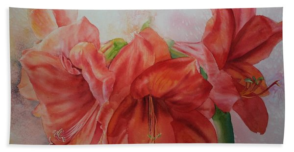 Hand Towel featuring the painting Amarylis by Ruth Kamenev