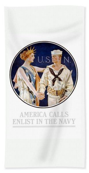 America Calls Enlist In The Navy Hand Towel