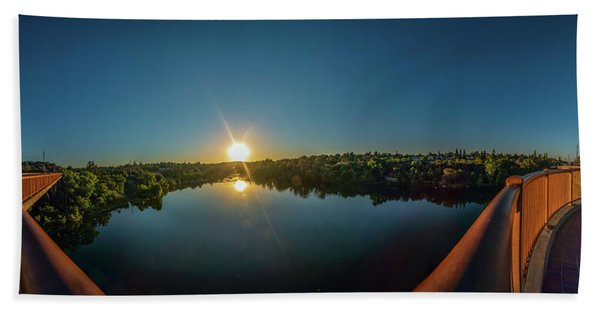 American River At Sunrise - Panorama Hand Towel