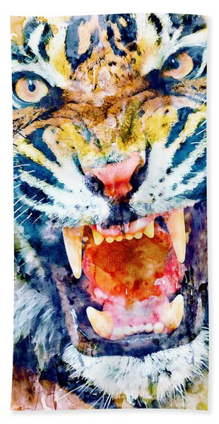 Angry Tiger Watercolor Close-up Hand Towel