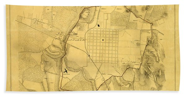 Antique Maps - Old Cartographic Maps - Antique Army Map Of Raleigh, 1865 Bath Towel