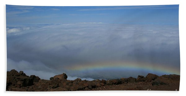 Anuenue - Rainbow At The Ahinahina Ahu Haleakala Sunrise Maui Hawaii Bath Towel