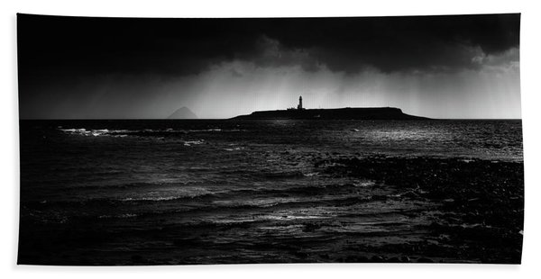 Approaching Storm, Ailsa Craig And Pladda Island Hand Towel