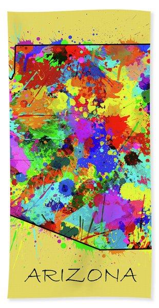 Arizona Map Color Splatter 3 Bath Towel