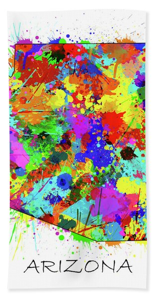 Arizona Map Color Splatter Bath Towel