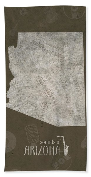 Arizona Map Music Notes 3 Bath Towel