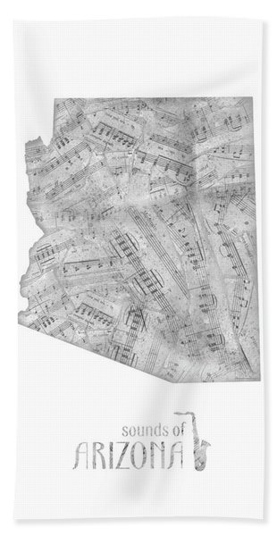Arizona Map Music Notes Bath Towel