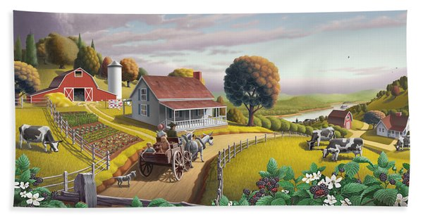 Appalachian Blackberry Patch Rustic Country Farm Folk Art Landscape - Rural Americana - Peaceful Hand Towel