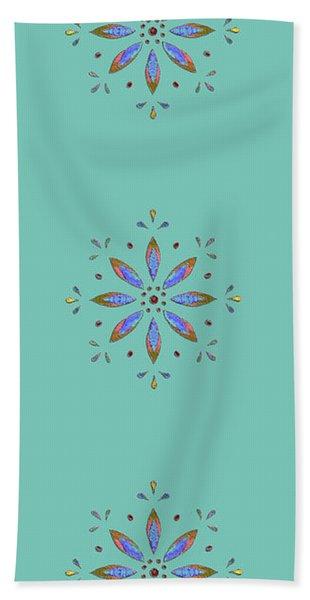 Teal Flower Bath Towel