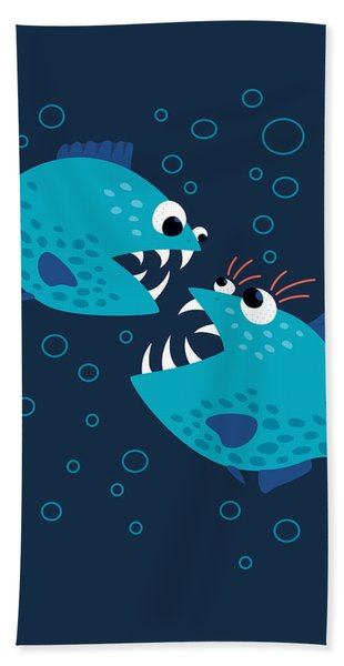 Gossiping Blue Piranha Fish Hand Towel