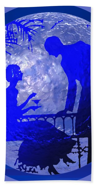 Blue Moonlight Lovers Hand Towel