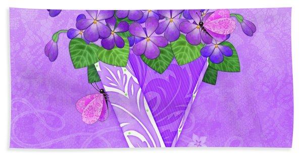 V Is For Violets Hand Towel