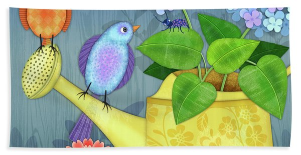 Two Birds On A Watering Can Hand Towel