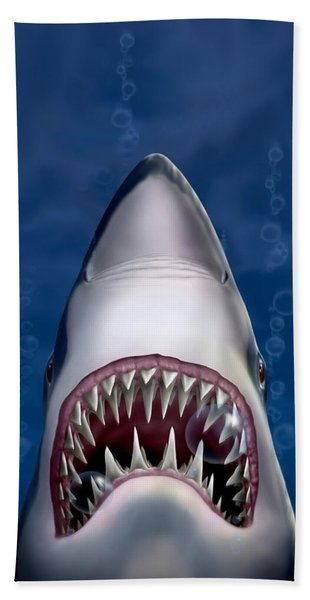 Jaws Great White Shark Art Hand Towel