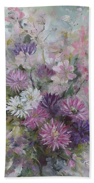 Asters And Stocks Hand Towel