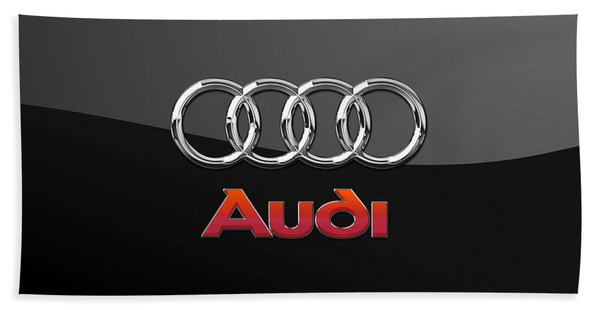 Audi 3 D Badge On Black Bath Towel