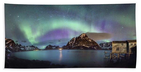 Aurora Above Reinefjord Hand Towel