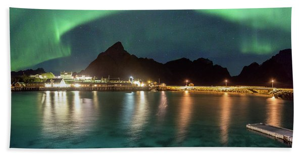 Aurora Above Turquoise Waters Hand Towel