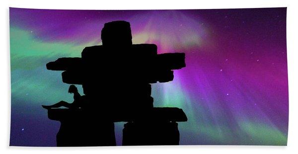 Aurora Borealis - Inukshuk - Northern Lights  Bath Towel