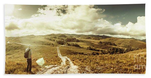 Australian Rural Panoramic Landscape Hand Towel