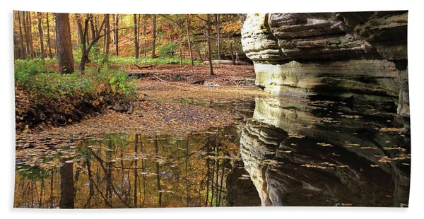 Autumn Comes To Illinois Canyon  Bath Towel