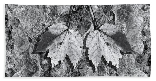 Autumn Leaf Abstract In Black And White Bath Towel