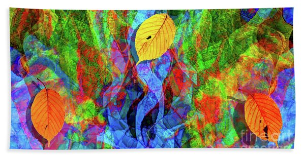 Autumn Leaves Abstract Bath Towel