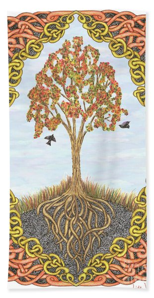 Autumn Tree With Knotted Roots And Knotted Border Hand Towel