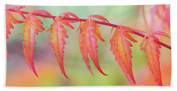 Autumnal Sumac Red Autumn Lace Leaves Bath Towel