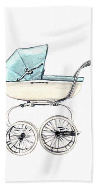 Baby Carriage In Blue - Vintage Pram English Hand Towel