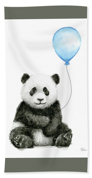 Baby Panda With Blue Balloon Watercolor Hand Towel